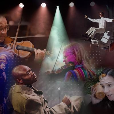 Kollage av musiker med instrument, samt olika skådespelare som agerar på scenen. Högst upp lyser strålkastare ner på alla delar av bilden.